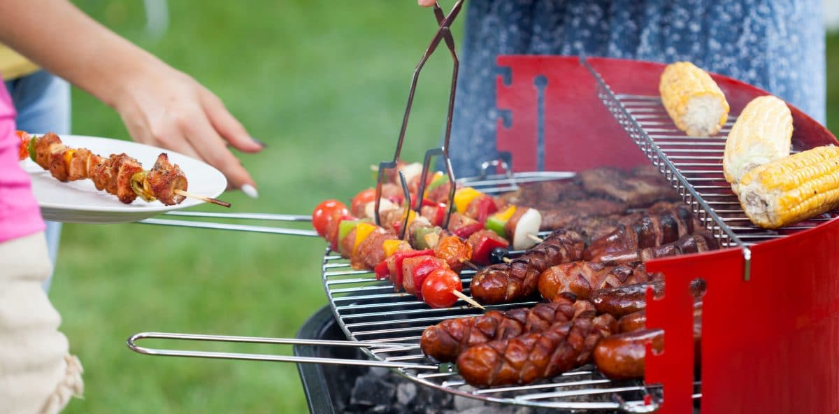 Horizontal view of grill party in a garden